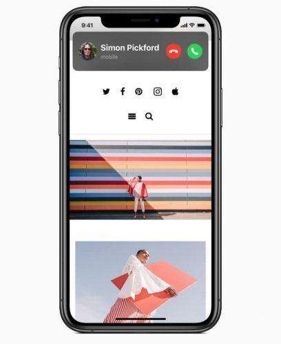 إشعار المكالمات الصغير أعلى الشاشة