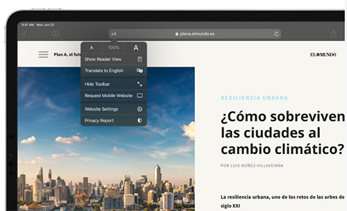 متصفح سفاري iPadOS 14 - الترجمة