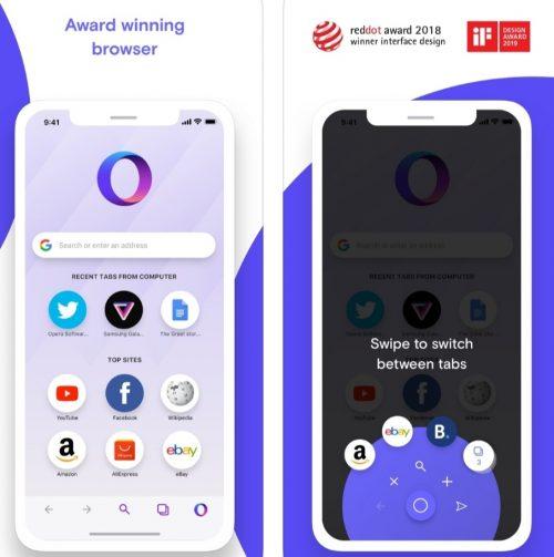 متصفح Opera Touch للايفون والايباد