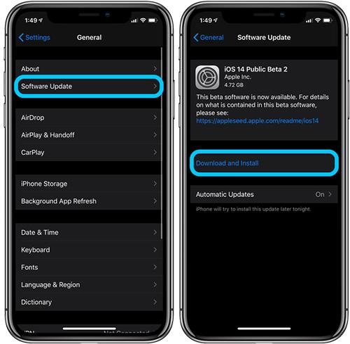 تنزيل و تثبيت النسخة التجريبية من iOS 14
