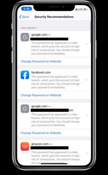 تحديث iOS 14 - الاقتراحات الأمنية