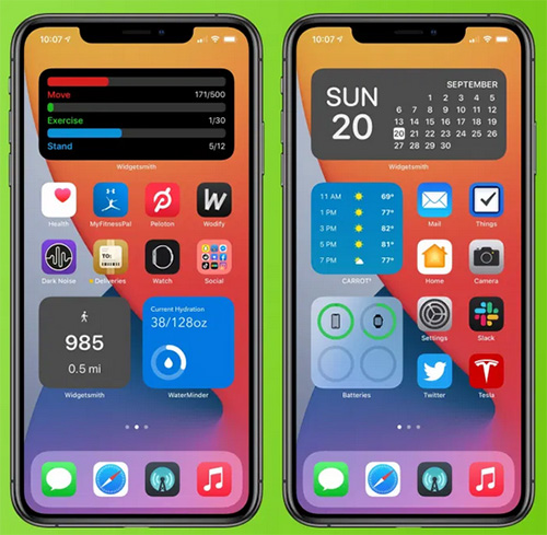 الويدجت على الشاشة الرئيسية في iOS 14