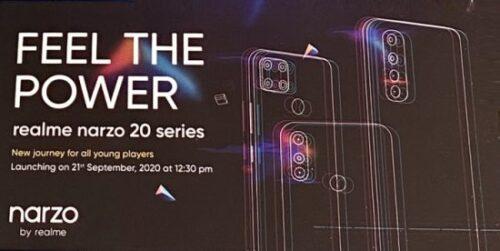 تسريب مواصفات سلسلة هواتف Realme Narzo 20 بالكامل