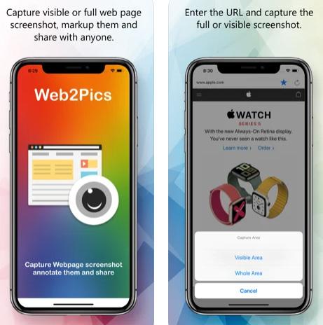 تطبيق Web2Pics لالتقاط صور الشاشة