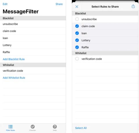 تطبيق فلتر الرسائل النصية MessageFilter Pro