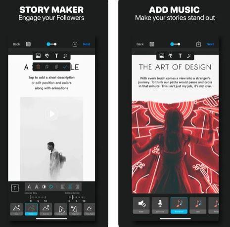 تطبيق إنشاء القصص والحالات والإعلانات Story Studio