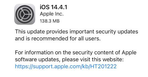 ابل تطلق تحديث iOS 14.4.1 لهواتف الايفون - تحديث أمني مهم!