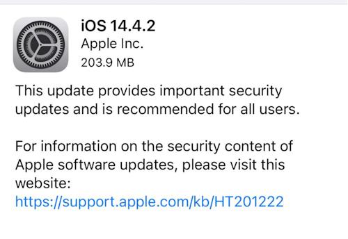 ابل تطلق تحديث iOS 14.4.2 لإصلاح مشاكل أمنية في النظام