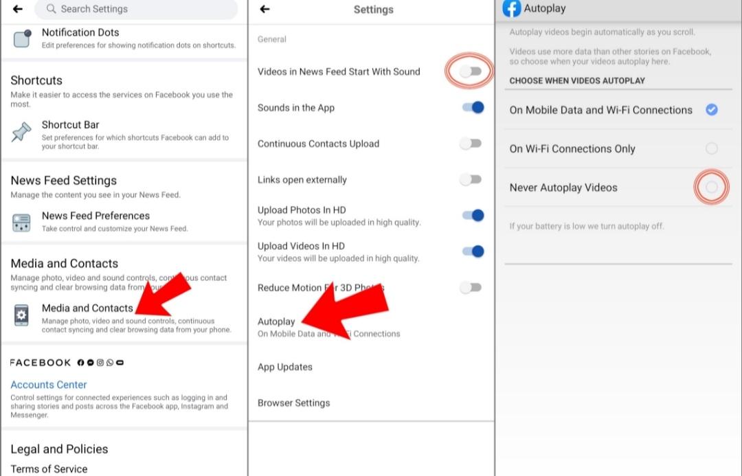 إيقاف التشغيل التلقائي لمقاطع الفيديو في فيسبوك على الأندرويد