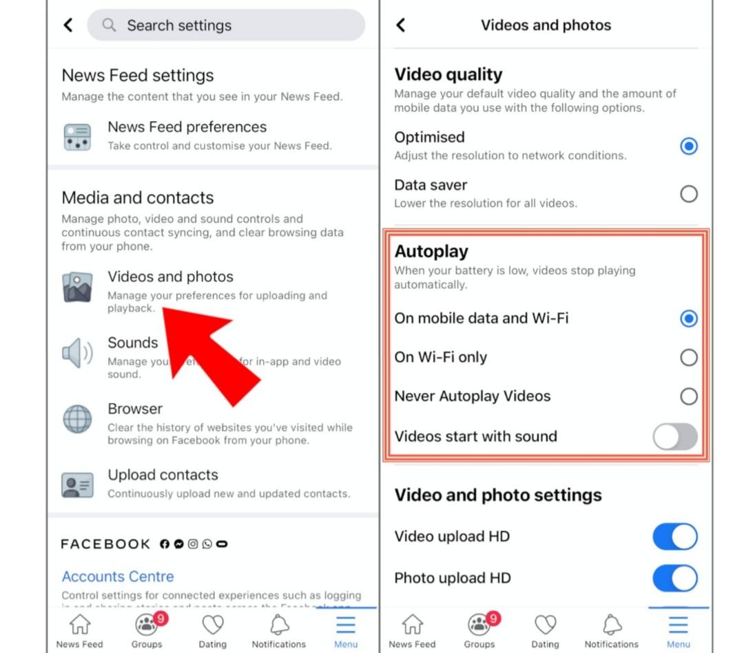 إيقاف التشغيل التلقائي لمقاطع الفيديو في فيسبوك على الايفون