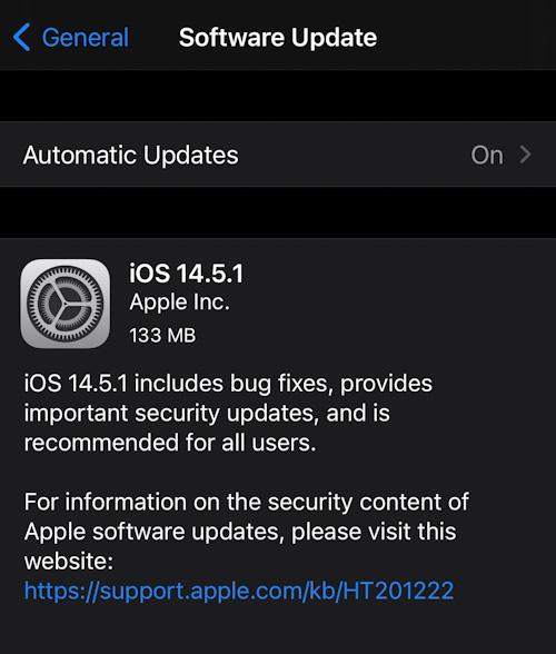 تحميل تحديث iOS 14.5.1 على الايفون