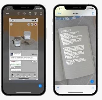 ميزة Live Text في تطبيق الكاميرا