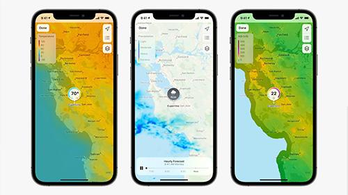 تحديث iOS 15 تطبيق الطقس