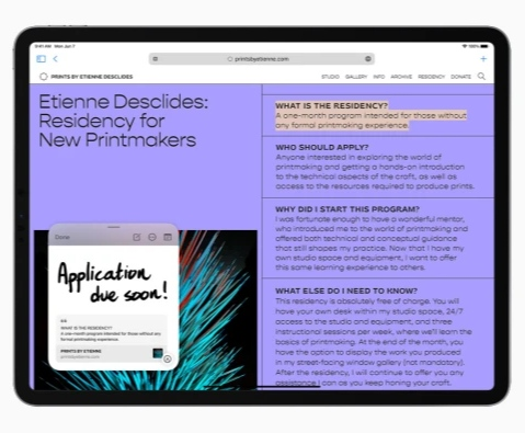 تطبيق الملاحظات Notes - مزايا إضافية للايباد مع تحديث iPadOS 15