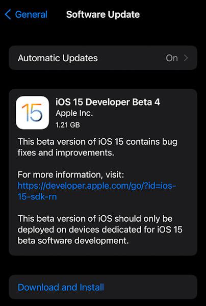 تحديث iOS 15 - إطلاق النسخة التجريبية الرابعة من التحديث iOS 15 Beta 4