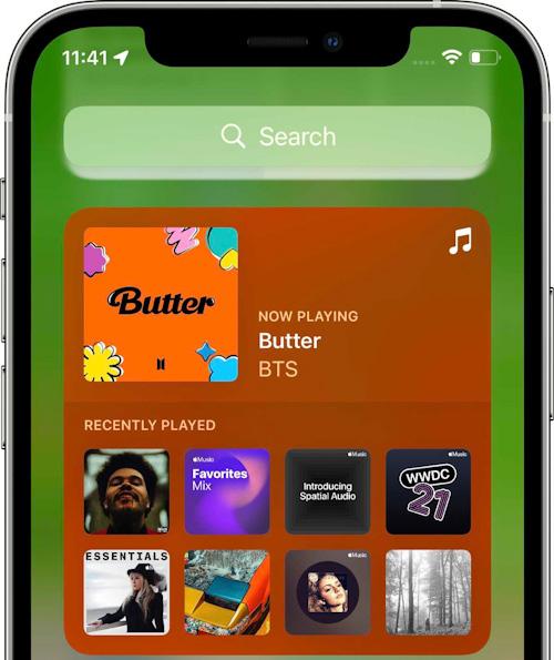 النسخة التجريبية الثالثة من تحديث iOS 15 و iPadOS 15 ويدجت الموسيقى