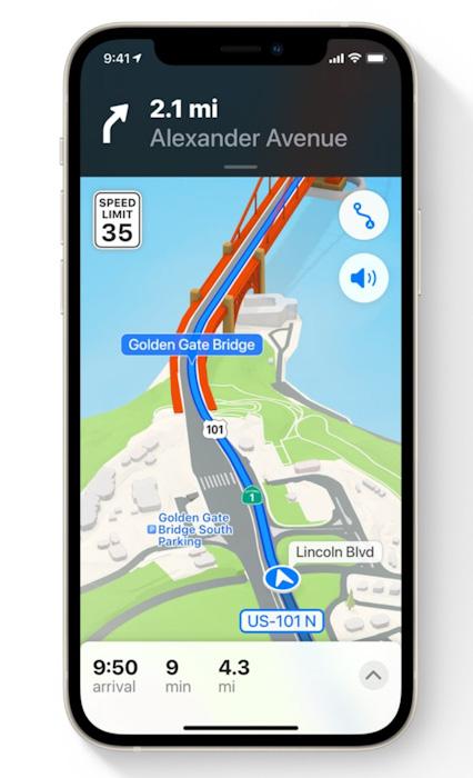 قيادة أفضل مع خرائط ابل تطبيق خرائط ابل مع تحديث iOS 15