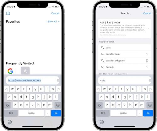 النسخة التجريبية الثالثة من تحديث iOS 15 و iPadOS 15 بحث سفاري