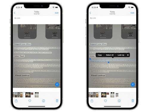 ميزة النص الحي Live Text