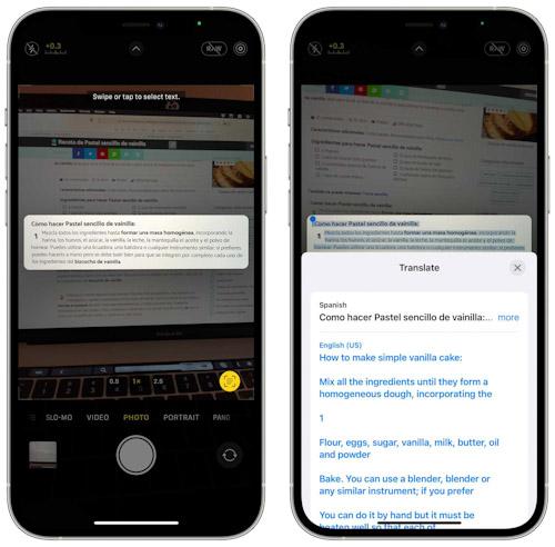 iOS 15 Live Text ترجمة النصوص