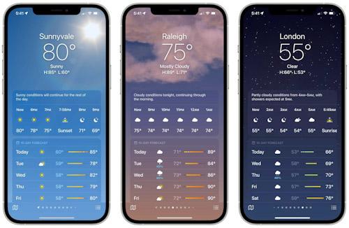 تحديث iOS 15 - تطبيق الطقس التصميم والخلفيات والتأثيرات الحركية