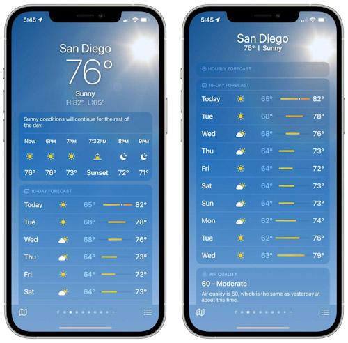 تحديث iOS 15 - ما الجديد في تطبيق الطقس؟