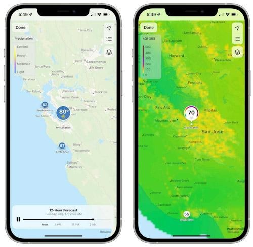 تحديث iOS 15 - خريطة الطقس