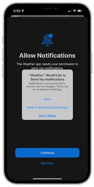 تحديث iOS 15 - تنبيهات هطول الأمطار في تطبيق الطقس