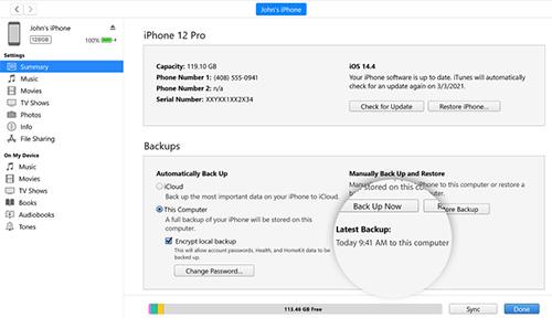 تحديث iOS 15 النسخ الاحتياطي عبر الآيتونز